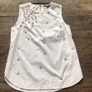 J Crew Floral Sequin Cotton Tank Top White Blush